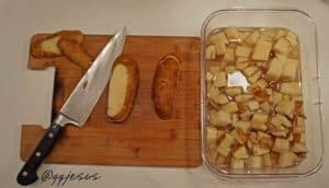 Cooked Potatoes Cubed Wash